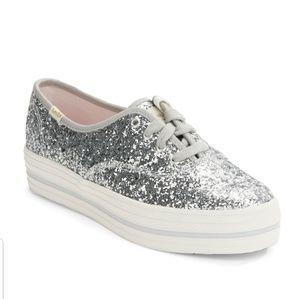 Kate Spade x Keds Platform Silver Glitter Sneakers